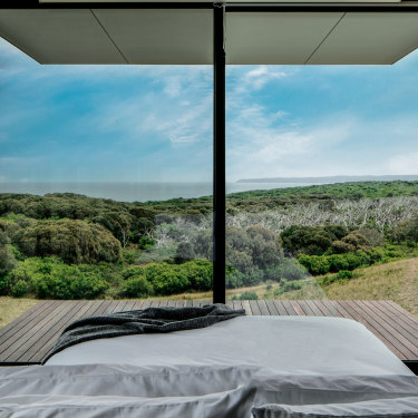 Take in the wild interplay between the bush, big sky and the sweep of the Southern Ocean over Moonlight Head at Cape Otway's Sky Pods. Just wait until the stars come out.