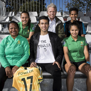 The Fowler clan (back, from left): Ciara, Kevin, Seamus, (front) Nido, Quivi and Louise with Mary's Matildas jersey.