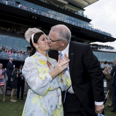 Prime Minister Scott Morrison and wife Jenny watch Winx win at the Queen Elizabeth Stakes.