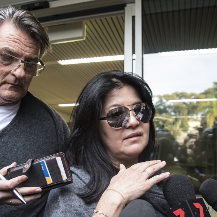 Designer Lisa Ho, pictured at Waverley Local Court in 2017,with partner Nick Jacenko, was a victim of Hamish McLaren.