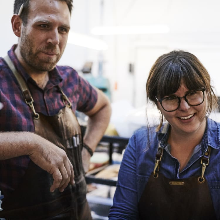 Industrial designer turned shoemaker Jess Wootten with his business and life partner Krystina Menegazzo.