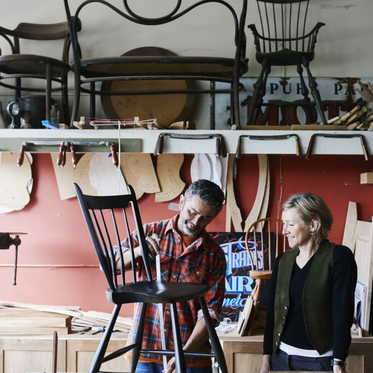 """Glen and Lisa Rundell's chair-making venture has hit a nerve with customers: """"We're a generation of people who have no heirlooms to pass on,"""" says Rundell."""