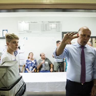 Home Affairs Minister Peter Dutton met Meals on Wheels volunteers with Scott Morrison just five months after the pair went head-to-head in a leadership contest.