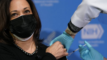 Vice-President Kamala Harris receives her second dose of the COVID-19 vaccine at the National Institutes of Health in Bethesda, Maryland.