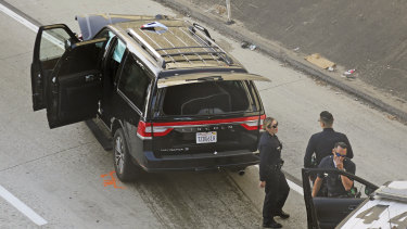 The hearse was stolen from outside a church in Los Angeles the night before it was pursued by police and crashed.