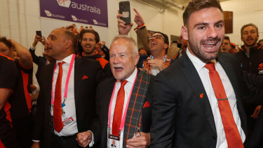 GWS Giants chairman Tony Shepherd belts out the club song.