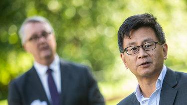 Professor Allen Cheng and Health Minister Martin Foley.