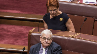 Senators Brian Burston and Pauline Hanson in the chamber together.
