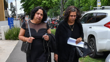 Ann Peiris leaves the coroner's court on Friday with sister-in-law Sheryl Ferreria.