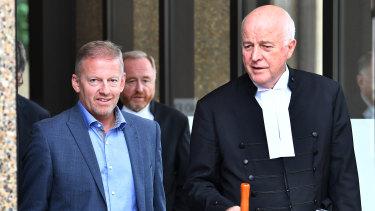 Sam Oliver's father Chris Oliver, left, and Stuart Littlemore, QC, leave the Federal Court in Sydney in March.