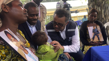 WHO Director-General, Dr Tedros Adhanom Ghebreyesus and DRC Ministry of Health, Dr Oly meet widows who lost their husbands to conflict during a visit to an Ebola treatment centre in Butembo, in the Democratic Republic of the Congo, on Saturday.