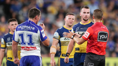 Eels captain Clint Gutherson launches an unsuccessful captain's challenge during round one in March.