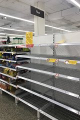 The flour section of Coles, Crows Nest, was empty on Sunday night (April 19), as baking supplies remained in high demand across the country.