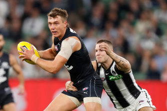 Carlton's Patrick Cripps in action against Collingwood on Thursday.