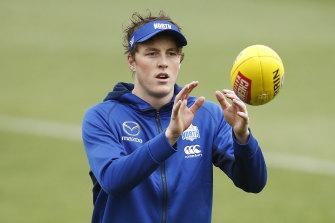 Kangaroos forward Nick Larkey at pre-season training.