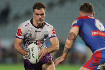 Ryan Papenhuyzen takes on the Knights defence in Gosford.