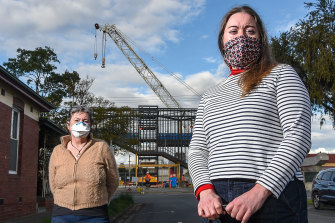 Coburg residents Tanya Pittard (right) and Jenny want the noisiest construction paused at night.