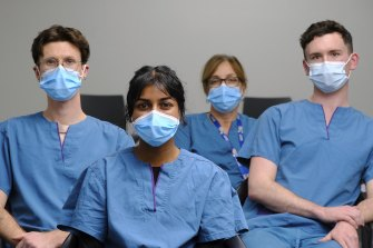 These are some of the GP workers who have seen the public's anger and confusion over the vaccine rollout. From left to right, Ryan Mitchell, Sachini Hewa Radalage, Jenny Ktenidis and Ash Dougan from the Altona North Respiratory Clinic.