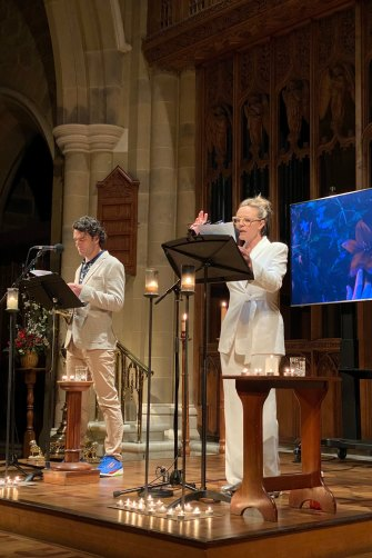 The couple perform at Hobart's St David's Cathedral earlier this month.
