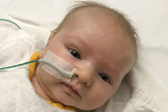 Testing times: Emily as a newborn.