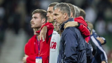 Dirty Reds: Adelaide United coach Marco Kurz wasn't a happy camper after his side's shootout loss.