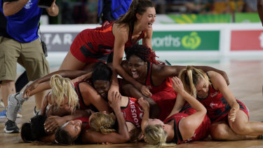 Stacks on: England celebrate first a first-ever Commonwealth Games netball gold medal on the Gold Coast.
