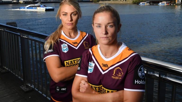 Making history: Brisbane Broncos players Kody House, left, and Meg Ward.