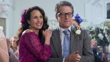 Andie Macdowell and Hugh Grant during the filming of One Red Nose Day and a Wedding.