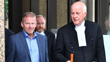 Sam Oliver's father Chris Oliver, left, and Stuart Littlemore, QC, leave the Federal Court in Sydney in March.
