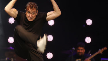 Johnny Clegg gives one of his high energy performances during a farewell concert in Johannesburg on November 11, 2017.