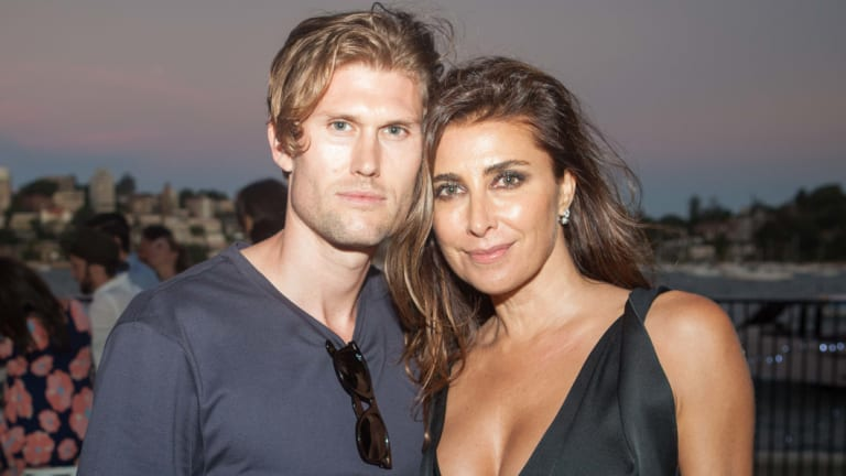 Nick Tsindos and Jodhi Meares at a The Upside party in 2016.