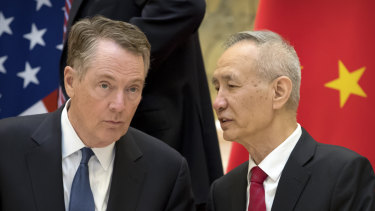 US Trade Representative Robert Lighthizer, left, and Chinese Vice-Premier Liu He have not yet come up with a deal.