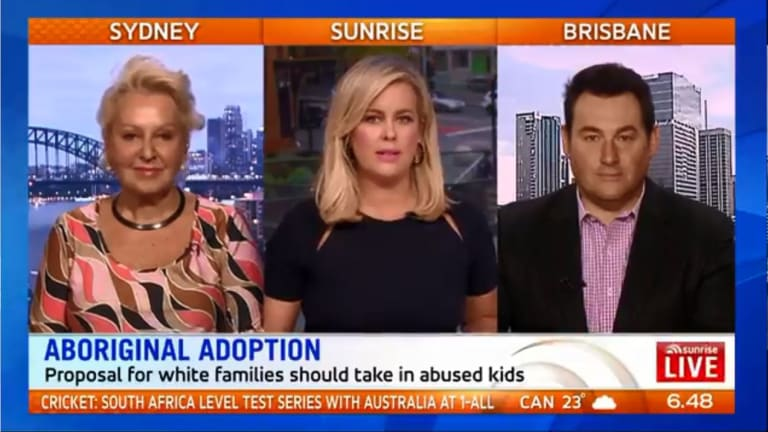 Sunrise host Sam Armytage (centre) with Prue MacSween and Ben Davis.