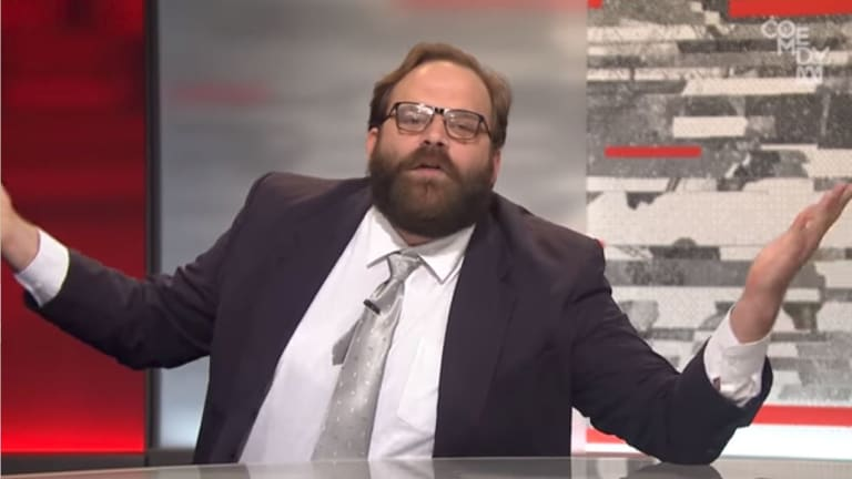 Comedian Greg Larsen is being taken to task over Tonightly with Tom Ballard skit.