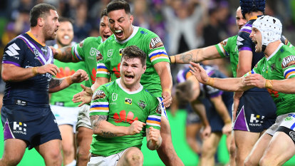 Raiders cause qualifying final boilover with late show against Storm