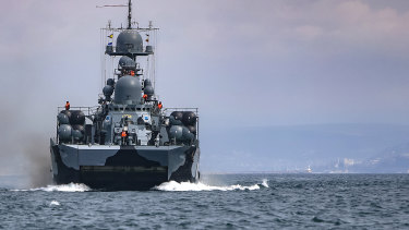 A Russian navy ship is seen during navy drills in the Black Sea.
