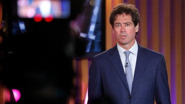 AFL CEO Gillon McLachlan during the virtual broadcast of the AFL Awards at Metricon Stadium.