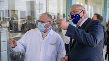 Prime Minister Scott Morrison visits a CSL lab in Melbourne this month.
