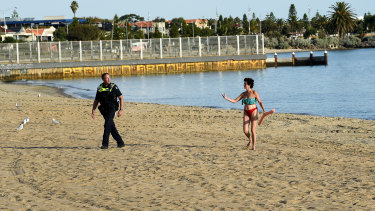 Police started shutting St Kilda beach down from 6pm on Friday.