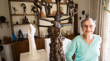 Holocaust survivor Sarah Saaroni, 93,  at home in Hawthorn with some of the sculptures she has created.
