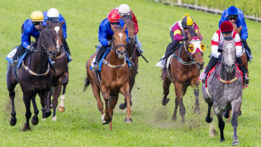 Classique Legend (right) wins a barrier trial in September.