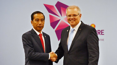 Australia's Prime Minister Scott Morrison and Indonesia's President Joko Widodo at a bilateral meeting during the 2018 ASEAN Summit in Singapore, on  November 14.