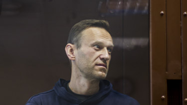Russian opposition leader Alexei Navalny stands in a cage during his hearing in a Moscow courtroom.