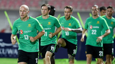 Members of the Socceroos squad train in Kuwait ahead of the qualifier.
