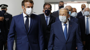 French President Emmanuel Macron, and Lebanese President Michel Aoun at Beirut airport this week.