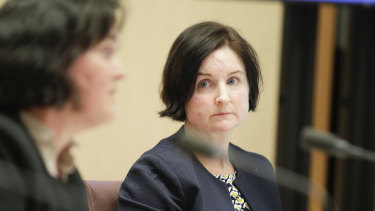 Sarah Chidgey from the Attorney-General's Department during a Senate Select Committee hearing on COVID-19.