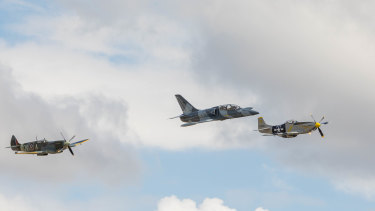 (From left) a 1945 Spitfire, L-39 Albatros and P-51D Mustang take flight.