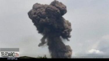 Smoke rising over the blast site at a military barracks in Bata, Equatorial Guinea.