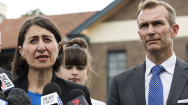 Premier Gladys Berejiklian and Education Minister Rob Stokes on a school visit.