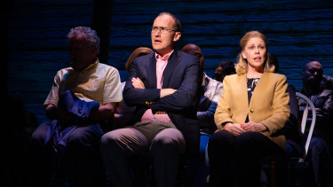 Nathan Carter, centre, will be replaced by a new actor when Come From Away reopens in Melbourne in 2021.